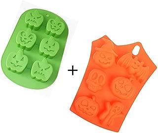 Kakasogo 2Pcs Pumpkin Ghost Bat 6 Cavity Halloween Mix Pattern Silicone Mold for Soap Cake Chocolate DIY Handmade Cupcake Baking Fondant Ice Cube Mould Bath Bombs Pans Kitchen Tool