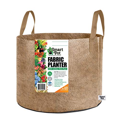 Smart Pots 20-Gallon Smart Pot Soft-Sided Container, Tan with Strap handles