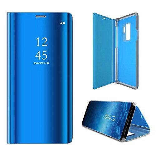 2ndSpring Custodia per Samsung Galaxy S8,Caso Specchio Clear View Standing Traslucido Flip Case con Funzione Stand PU Premium Custodia in Pelle Cover,Blu