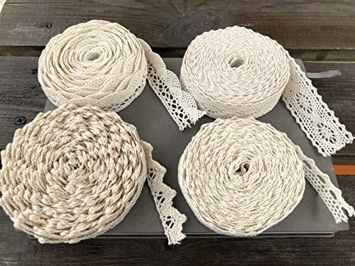 MQIAN 4 Rollo Cinta de encaje de arpillera, rollo de cinta de arpillera natural con encaje para bodas Navidad manualidades regalos, puntillas de encaje vintage y cinta de arpillera (4 pcs * 16.4ft)