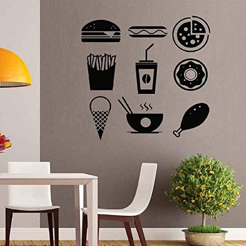 Etiqueta de la pared de vinilo decoración de la pared etiqueta de bricolaje hamburguesa hot dog comida al horno comida al horno comida al horno restaurante de comida rápida interior S93645Cmx65Cm