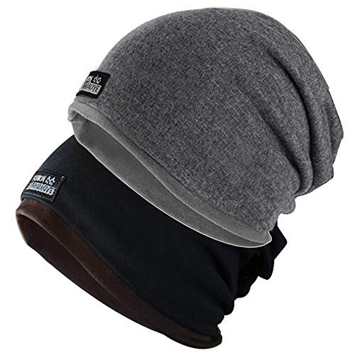 Boomersun muts heren dames beanie herfst wintermutsen mutsen zwart grijs katoen elastische muts voor sport, chemotherapie, haaruitval, slaap (2 stuks)
