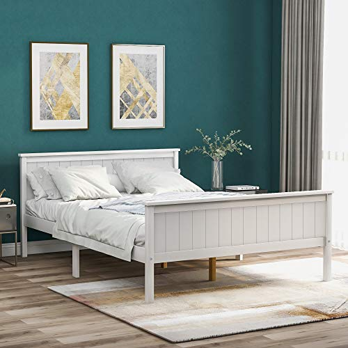 Famgizmo Double Bed 4ft6 Pine Wooden Bed Frame with Headboard and Footboard, Ivory White Solid Frame for Adults, Kids, Teenagers, Children