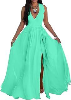 SheKiss Womens Sexy V-Neck Chiffon Long Maxi Dresses Sleeveless Split Beach Bridesmaid Flowy Sundress