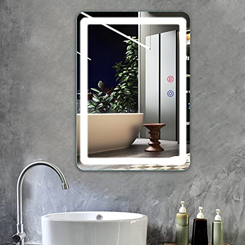 FUNTOUCH 28 × 20 Inch LED Bathroom Vanity Mirror, Wall Mounted Makeup Mirror with 3 Color Lighting, Anti-Fog Function, Touch Screen Dimming, Plug in Light Up Mirror, Vertically / Horizontally Hanging