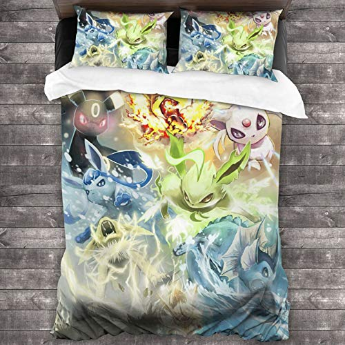 Popular Anime Pikachu Cute 3-Piece Bedding Set 1 Quilt Cover with 2 Pillowcases Microfiber All-Season Super Soft Lightweight Comfortable Home Decor for Adults Kids 86x70
