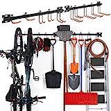 ikkle Soporte para aparcar Bicicletas, Soporte de Pared para 2 Bicicletas, Bicicleta Soportes Pared, Jardín Montaje en Pared Estante, Sistema de Almacenamiento de Garaje con 10 Gancho (2-Pack)