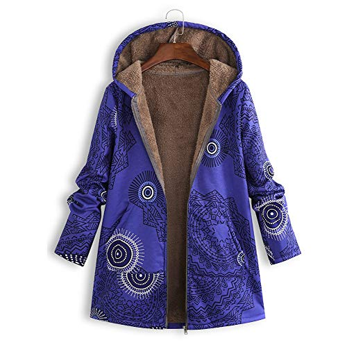 Yowablo Jacke Damen Steppjacke Herbst Winter Übergangsjacke gesteppt Winter Warme Outwear Druck Kapuzentaschen Vintage Oversize Mäntel (4XL,2- Blau)