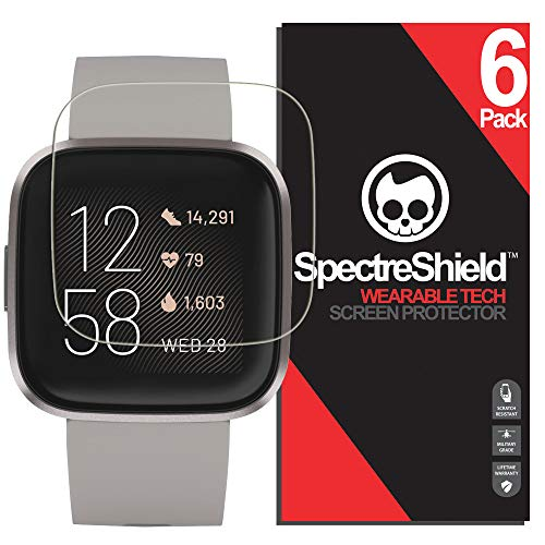 [6-Pack] Spectre Shield Screen Protector for Fitbit Versa 2 Case Friendly Fitbit Versa 2 Screen Protector Accessory TPU Clear Film