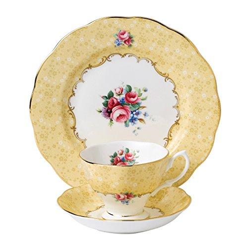 100años de Royal Albert 1990Ramo de Flores Taza y platillo (y 20cm, Plato, Porcelana, Blanco, Juego de 3
