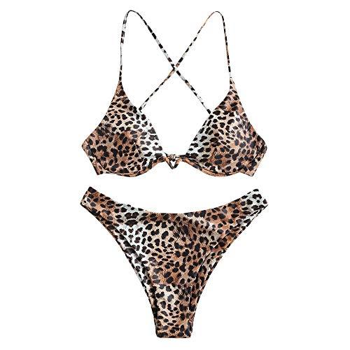 ZAFUL Damen Zweiteiliger Bügel Bikini-Set, Leopardenmuster Criss Cross Push Up High-Cut Gepolsterte Bikini Badeanzug (Braun, S)