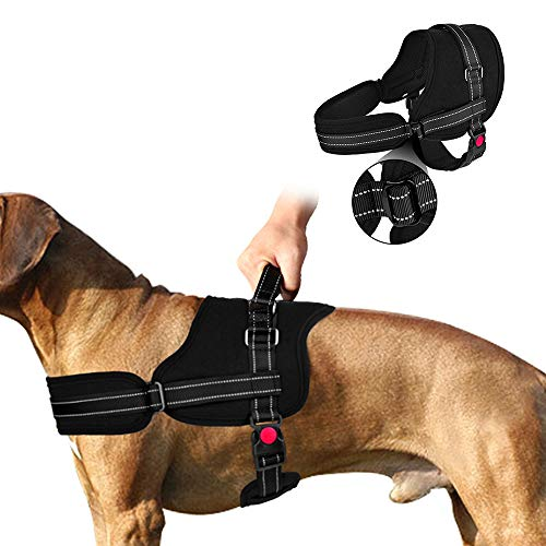 Slowton No Pull Dog Vest Harness, 2018 New Generation Adjustable Neck Strap Chest Strap Breathable Padded Vest with Top Handle Harness with Locking Buckle for Large Dog Training Walking (Large, Black)