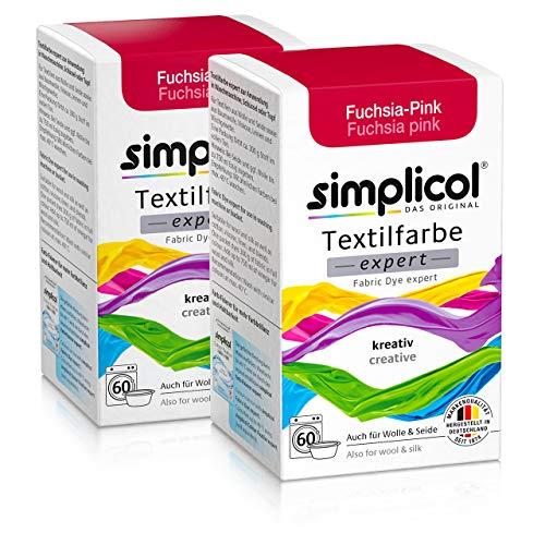 Simplicol Textilfarbe expert Fuchsia-Pink 1705 2er Pack: Farbe für kreatives, einfaches Färben in der Waschmaschine oder manuell