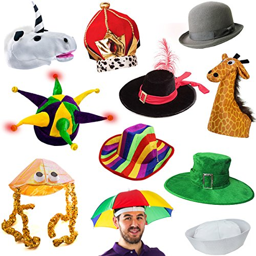 Funny Party Hats 6 Assorted Dress Up Costume & Party Hats by (6 Adult Costume Hats)