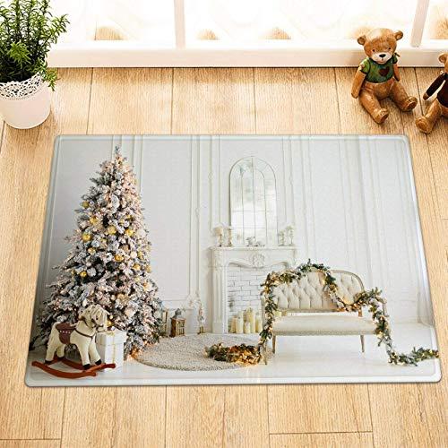 Elinna Living Room Christmas Tree Sofa Garland Bathroom Rug,Indoor Non-Slip Door Mat,Children's Bathroom Carpet, In,Bathroom Accessories Home Decoration 18x30(IN)