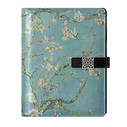 Leather Journal Notebook - Van Gogh Blossoming Almond Tree Travel Journal Writing Notebook Binder with Pockets Daily Planner Diary Book for Office School Business