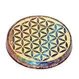Orgonite Crystal Water Charging Plate –Chakra Balancing Coaster and Positive Energy Generator Flower of Life and with 7 Healing Crystals for E Energy Protection(4 Inch Diameter)