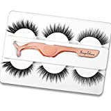 3D Faux Mink Lashes Sets, TINGESHINE Natural Look Soft Handmade Reusable False Eyelashes, 3 Styles 3 Pairs Premium Pack, with Professional Tweezers…