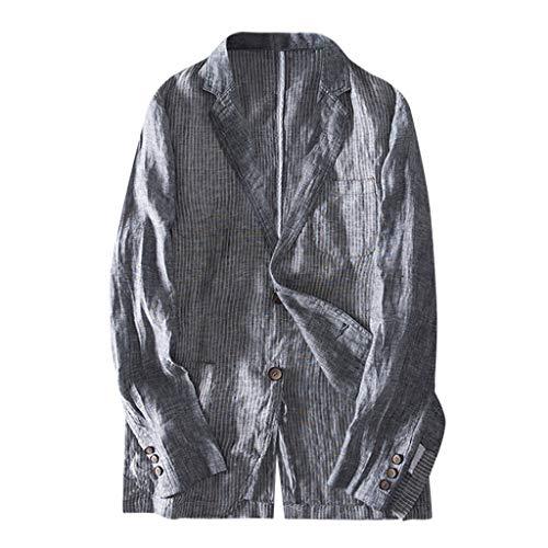 MIS1950s Men's Casual Blazer Jacket Linen Blend Slim Fit Coats Lightweight Double Button Suit Jacket with Pocket