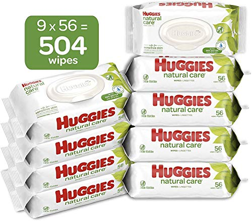 Huggies Natural Care Sensitive Baby Wipes, Unscented, 9 Flip-Top Packs (504 Wipes Total)