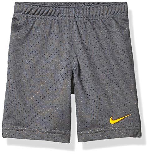 NIKE Children's Apparel Boys' Little Mesh Shorts, Dark Grey/Orange, 4