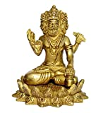 White Whale Brass Brahma Sitting on Lotus Statue Hindu Religion God Sculpture Idol Statue Murti