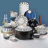 LCNING Vajilla de 21 Piezas Set de vajilla Hogar cerámica Cuenco Sopa Plato Familia Vajilla Plato Casserole Set de Alimentos 6 Personas