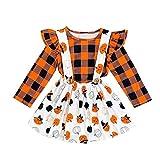 1-5 Años,SO-buts Conjunto De Vestido De Falda General Con Conjunto De Falda De Cuadros De Calabaza De Halloween Para Bebés Y Niños, Trajes De Niña Otoño Invierno (Naranja,2-3 años)