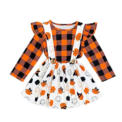Youmymine Toddler Baby Kids Girls Long Sleeve T-Shirt,Halloween Pumpkin Plaid Tops Overall Skirt Dress Set (18-24 Months, Orange)