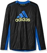 adidas Boys' Toddler Performance Logo Long Sleeve Tee Shirt, Black, 3T