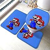 Super Mario Juego de videojuegos Heroes Baño Antiskid Pad Mats Floor Mat U cubierta de inodoro de tres piezas super suave microfibra antideslizante baño Set