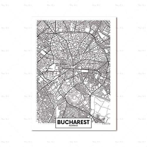 Picture Printing On Canvas,Modern Minimalist Bucharest City Map Wall On White Background Hd Print Canvas Painting Wall Art Poster Modern Pop Art Picture for Living Room Bedroom Home Decor,70×100Cm
