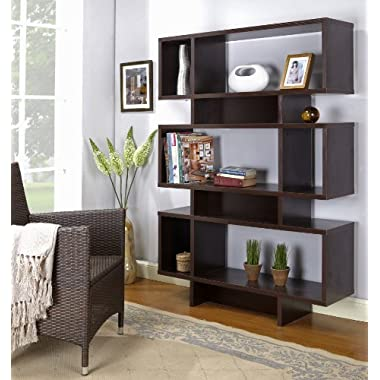 Kings Brand Furniture Espresso Finish Wood Cube Bookcase Display Cabinet