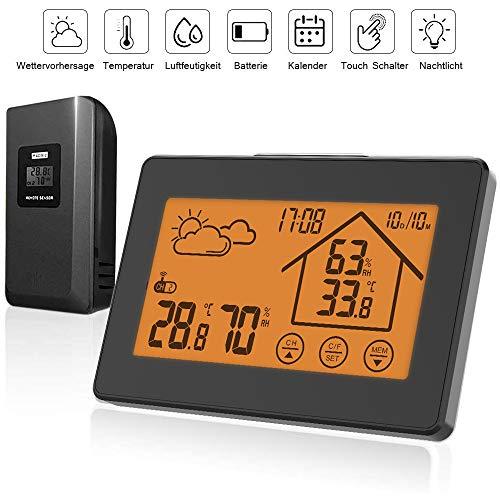 BALDR Wetterstation Funk mit Außensensor, Digital Thermometer Hygrometer Innen und Außen Raumthermometer Hydrometer Feuchtigkeit mit Wettervorhersage, Uhrzeitanzeige, Wecker und Nachtlicht