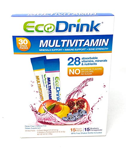 Eco Drink Complete Multivitamin 30 Packets(15 Blueberry Pomegranate, 15 Peach Mango) 2 Pack