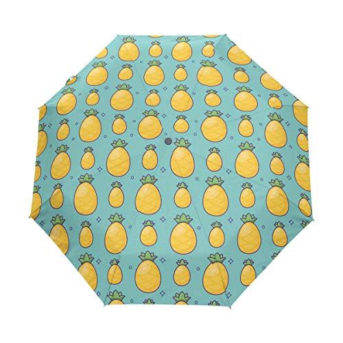 Trushop Paraguas Automático Pineapple Blue Windproof Automati Umbrella
