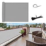SUNNY GUARD Copertura per Balcone Giardino Schermo Privacy Resistente ai Raggi UV HDPE Telo frangivento con Fascette,90x600cm Grigio