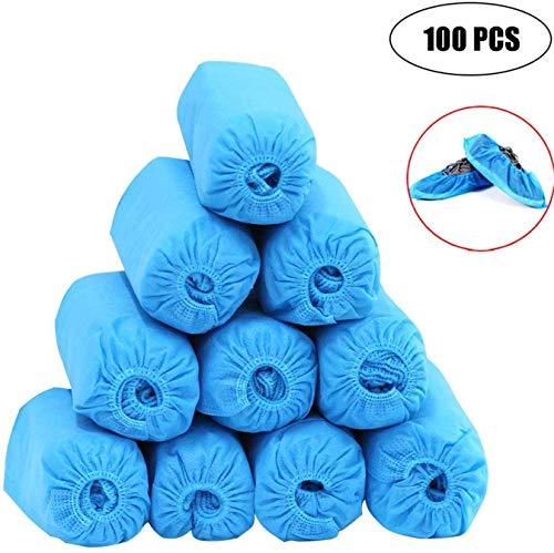 SWEEPID - Copri-Stivali e Copriscarpe Impermeabili e USA e Getta, Resistenti, Antiscivolo, atossici, 100% Senza Lattice, 100 pz, Colore: Blu