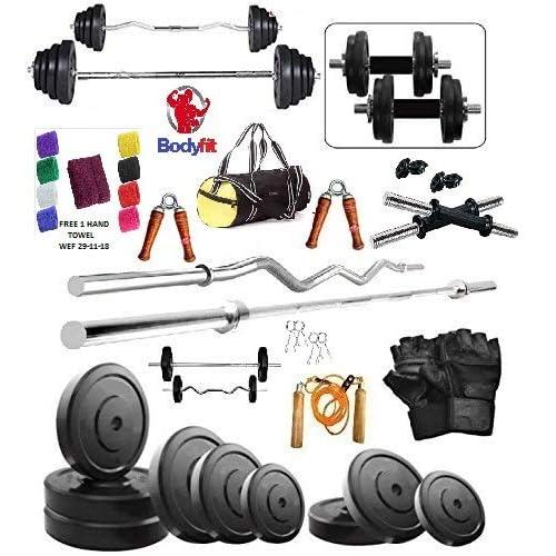 Bodyfit 50Kg Weight Plates,5Ft Rod,3Ft Curl Rod,2D.Rods Home Gym Dumbell Set.