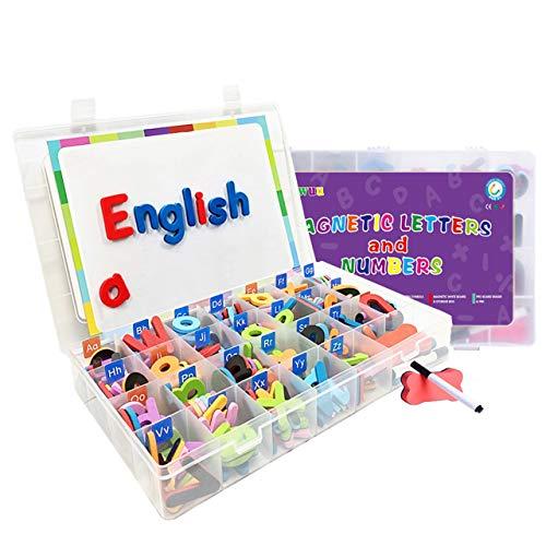 220pcs Alfabeti Numeri Magnetici Kit Lettere Kit di Giocattoli Educativi con Lettere Magneti Frigorifero Simboli Bordo per Penna Scatola di Immagazzinaggio Gomma Bambini Ragazzi e Ragazze