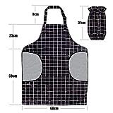 RenFox Schürze, Wasserdicht Kochschürze mit Taschen,Verstellbarem Küchenschürze in Profiqualität,Grillschürze,latzschürze,Küchenschürze (Schwarz-Weiß-Gitter) - 6