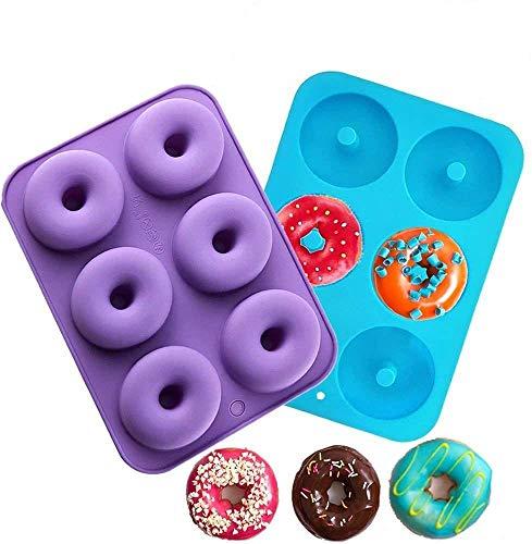Meiso - Confezione da 2 stampi in silicone, 6cavità in ciascuno stampo, antiaderenti, sicuri, resistenti al calore, senza BPA, per donut, muffin, cup cake, biscotti ad anello, dolci e bagel
