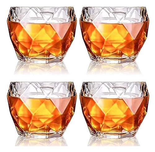 DWhui 4 PCS Vidrio de Vino Whisky Crystal Crystal Whisky Gafas, Gafas Scotch Glasses Premium Gafas Bourbon para Cocktails Estilo de Roca Anticistida Vidrio de Bebida de Moda