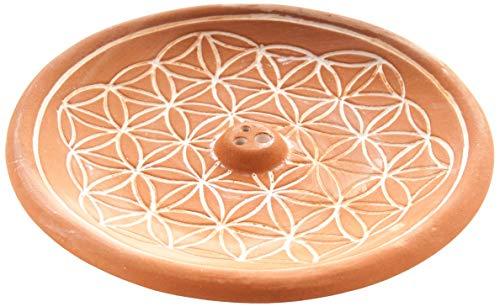 Berk KH-560-BR Räucher-Zubehör - Blume des Lebens Natur - Räucherhalter aus Keramik