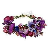 DreamLily Maternity Woodland Photo Shoot Peony Flower Crown Hair Wreath Wedding Headband BC44 (Style 1 Dark Purple)