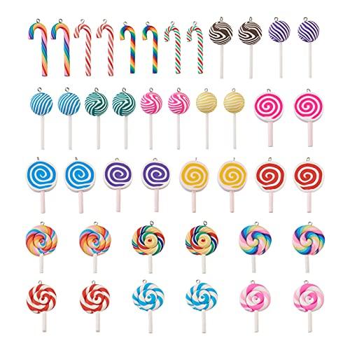 PandaHall 42 colgantes de arcilla polimérica de colores para caramelos, 4 estilos, dulces, Lollipop de limo, cuentas para hacer joyas, llavero, bolsa de decoración