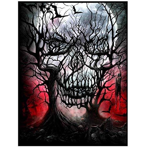 XuFan Carteles e Impresiones de Calavera Fantasma de Terror Lienzo Arte de Pared para Sala de Estar imágenes de decoración del hogar-16X24 Pulgadas sin Marco