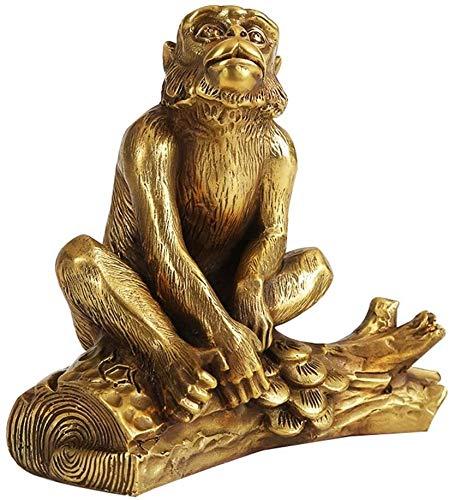 AINIYF Las estatuas del zodiaco del mono latón puro arte del chino Feng Shui decoración, for el hogar y decoración de la oficina Figurita atraer la riqueza y buena suerte escultura tamaño dos, S, Tama