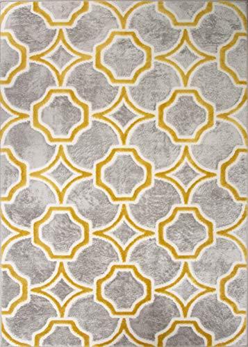 Silver Grey Mustard Interlocking Trellis Rug Soft Ochre Modern Plush Yellow Geometric Living Room Area Bedroom Hallway Rugs 60cm X 110cm
