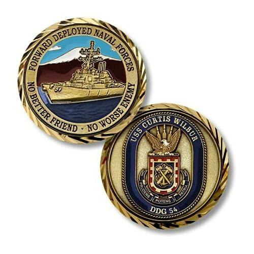 """New Challenge Coin USS Curtis Wilbur DDG-54 No Better Friend No Worse Enemy 1.75"""""""